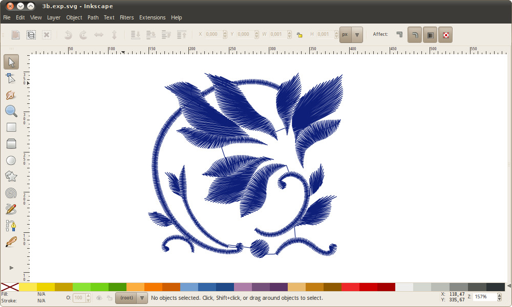EXP file converted to SVG and opened in Inkscape