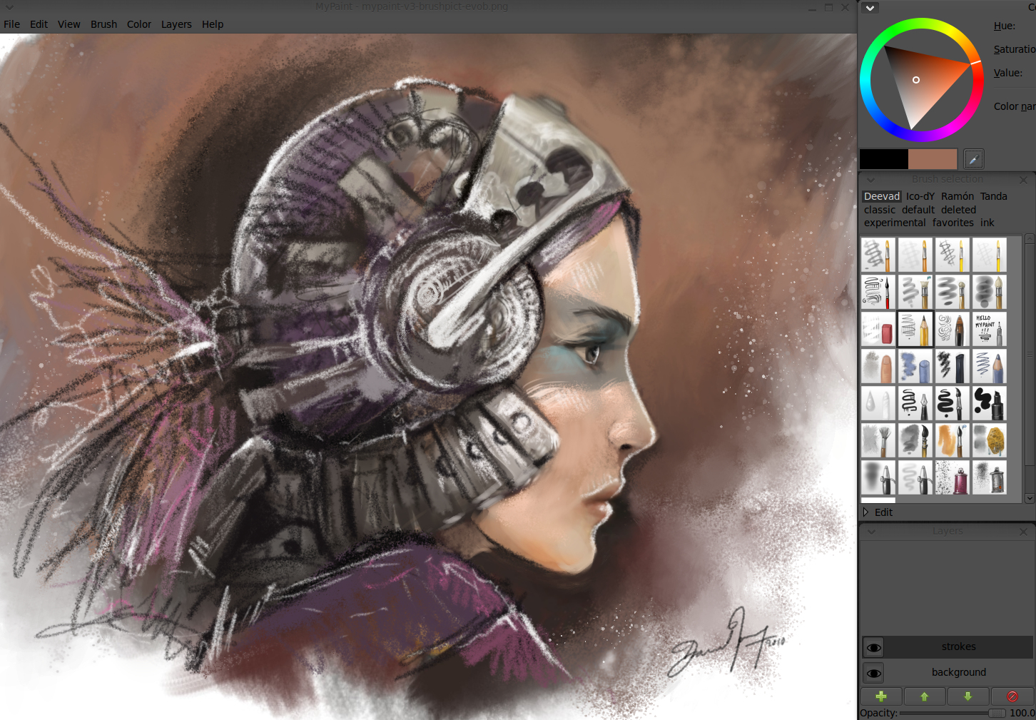 One of David's MyPaint screenshots to introduce his V.3 brushkit