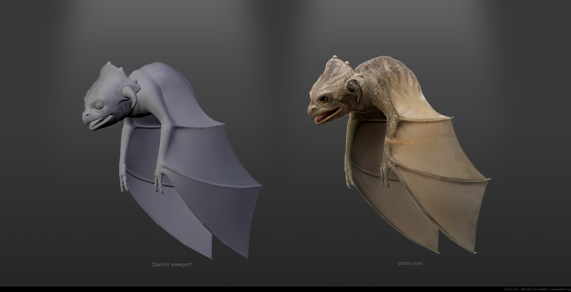 Paint-overs the baby dragon for texture and sculpt reference