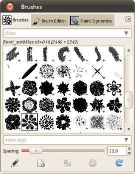 A list of Photoshop brushes from a single ABR file