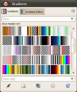 A list of GIMP gradients
