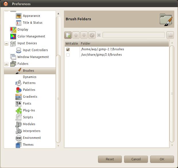 Brush folders in Preferences dialog