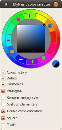 Harmonies in MyPaint's selector