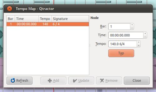 Qtractor 0.4.9 Tap tempo
