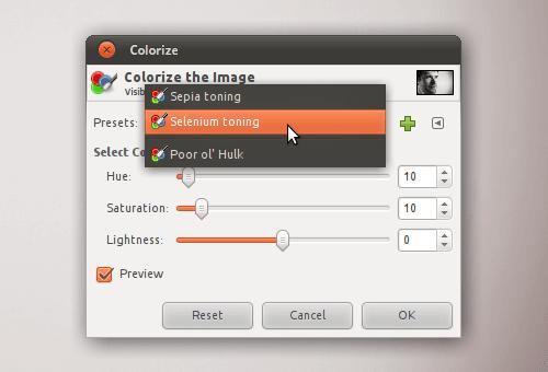 Choosing saved presets