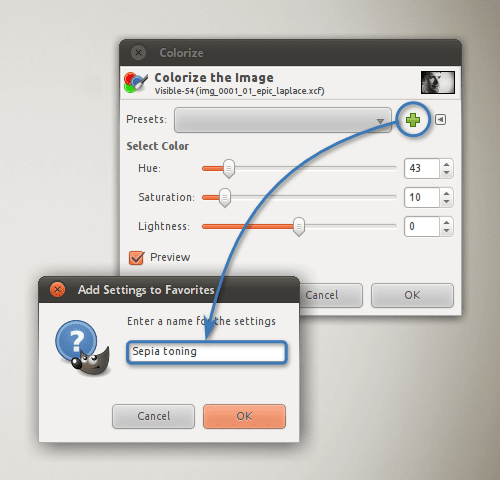 Creating a named preset for a color tool