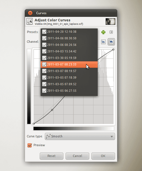 Curves presets list gets bloated all by itself