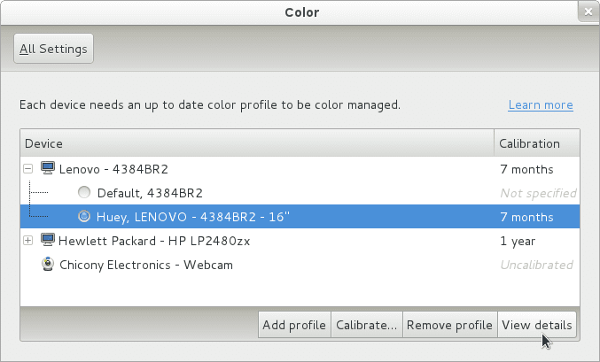 Actual color management applet in GNOME