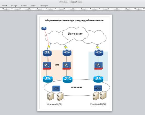 Original network diagram in Visio