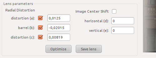 Calculated lens distorsion settings