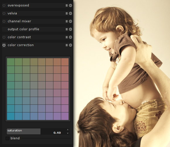 Washed-out and golden skintones effect in darktable