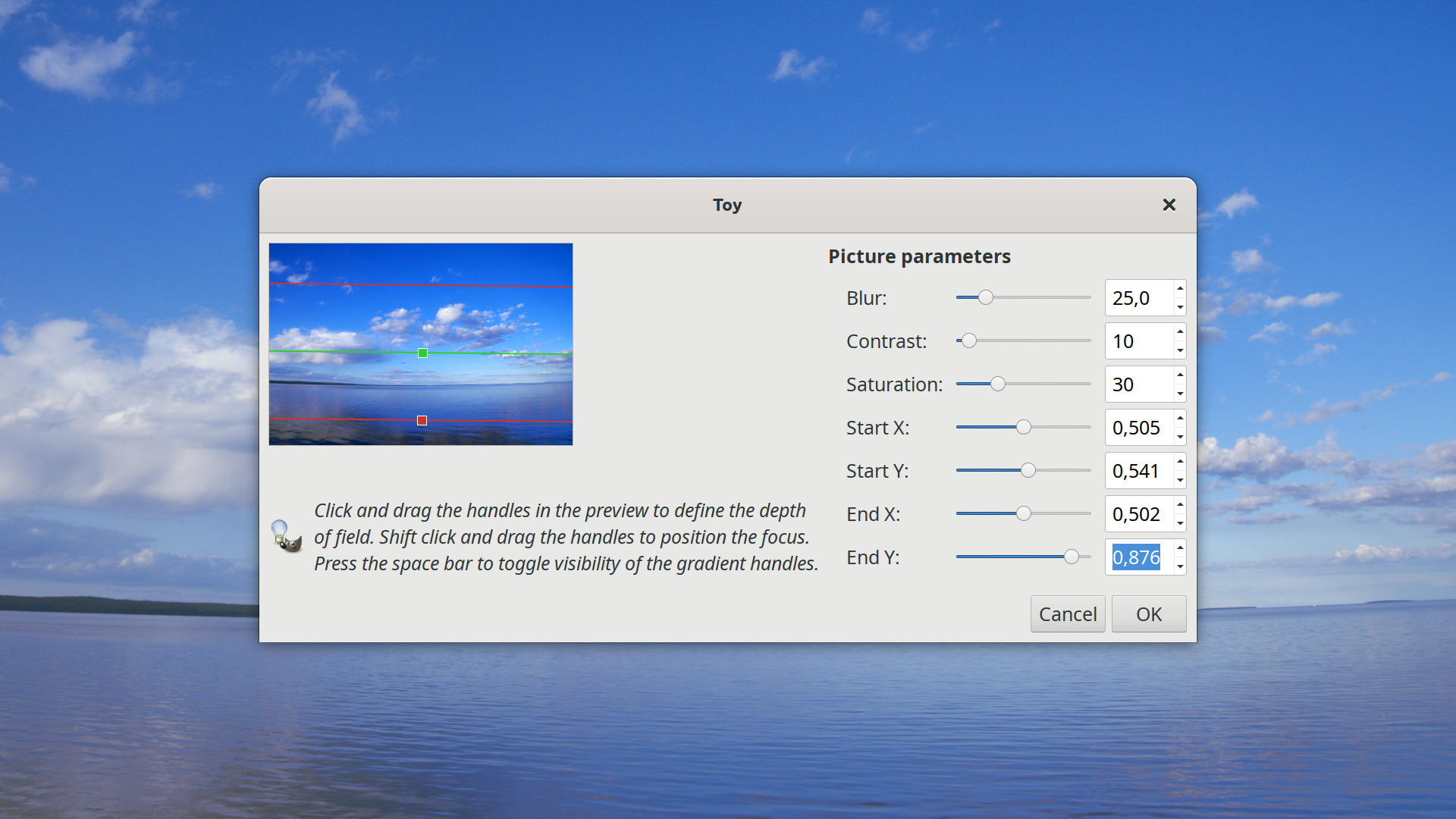 Toy plug-in for GIMP simplifies creating tilt-shift fakes