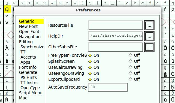 Preferences dialog in FontForge