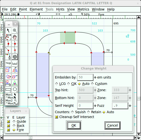 Default user interface in FontForge