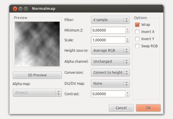 GIMP Normalmap plug-in, 2D view