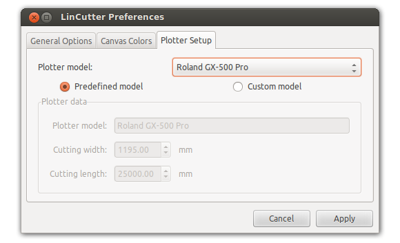 LinCutter preferences