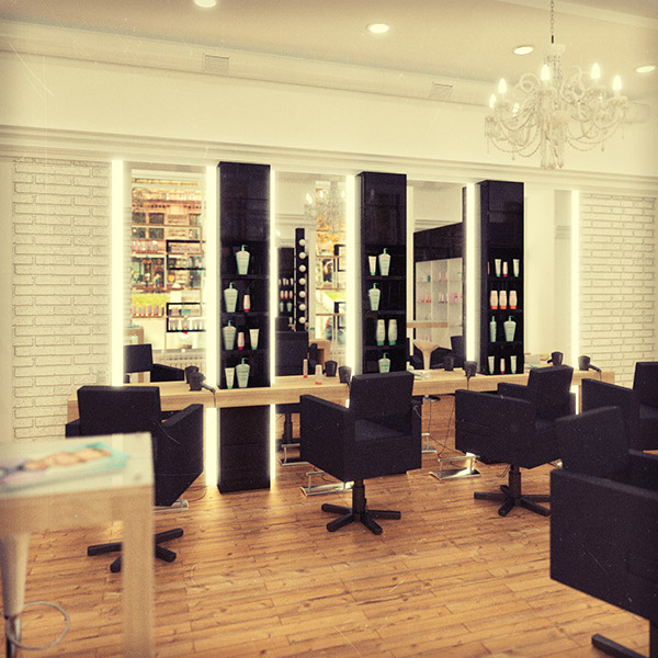 Beauty salon designed and visualized with Blender and Cycles