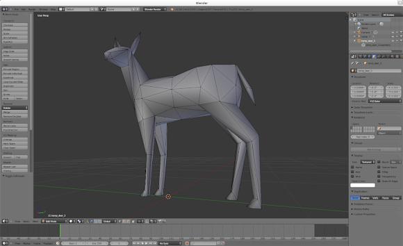 Deer model from 0 A.D. opened in Blender