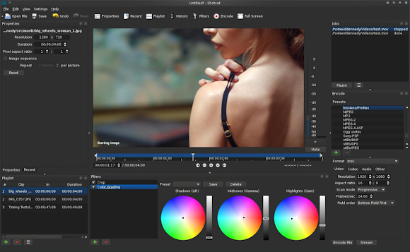 Shotcut, applying the 3-way color grading adjustment on a video