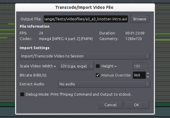 Importing video to Ardour 3.2