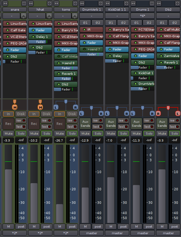 Mixing and processing drums in Ardour 3
