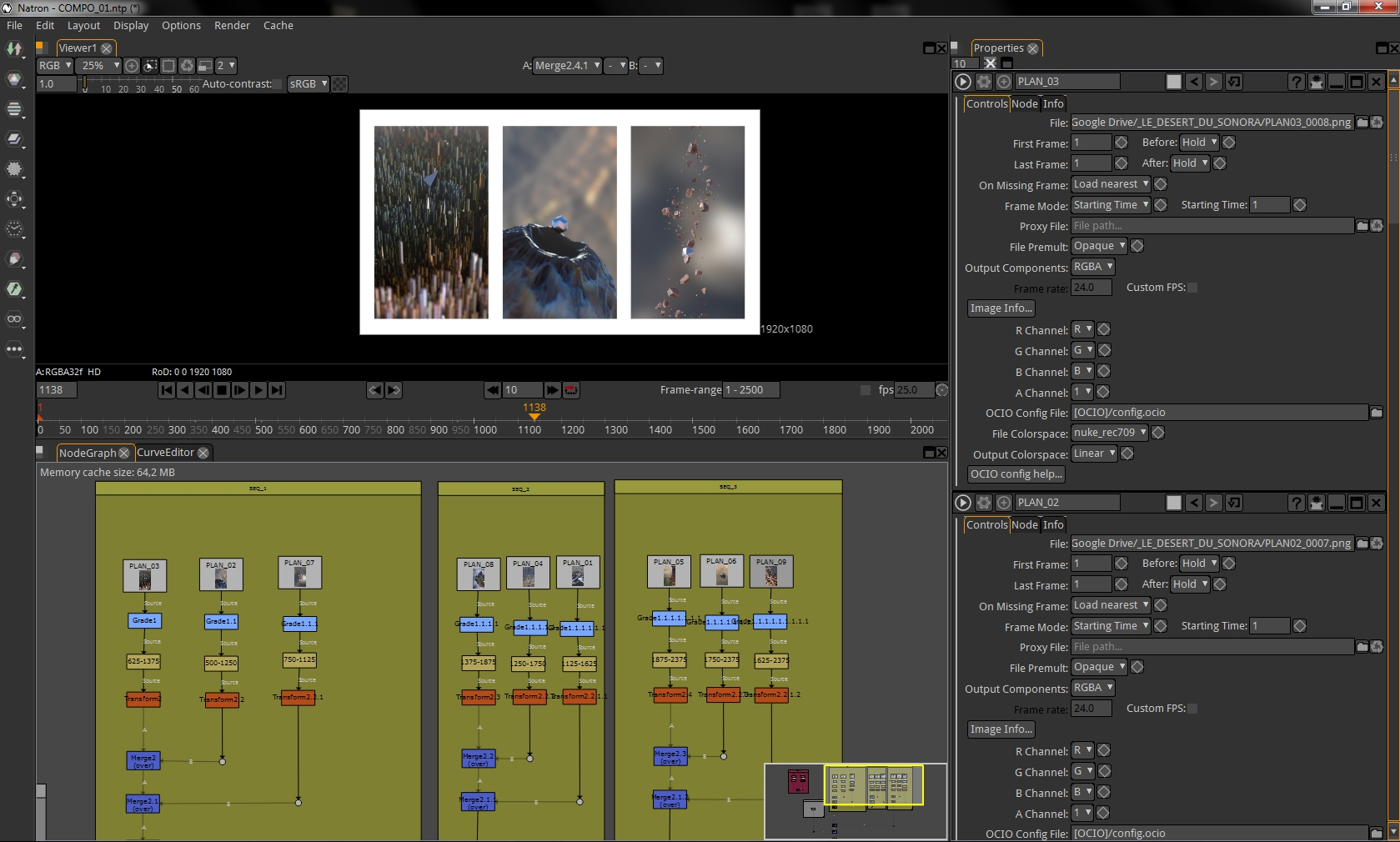 Compositing a sequence from Le Désert Du Sonora in Natron