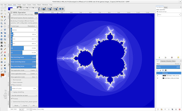 Automatically generated UI for Fractal Explorer port on a 1920x1280 display