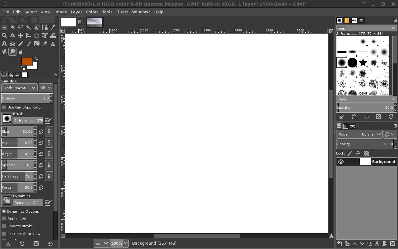 Default GIMP windows layout
