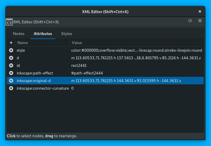 XML attributes editing in Inkscape