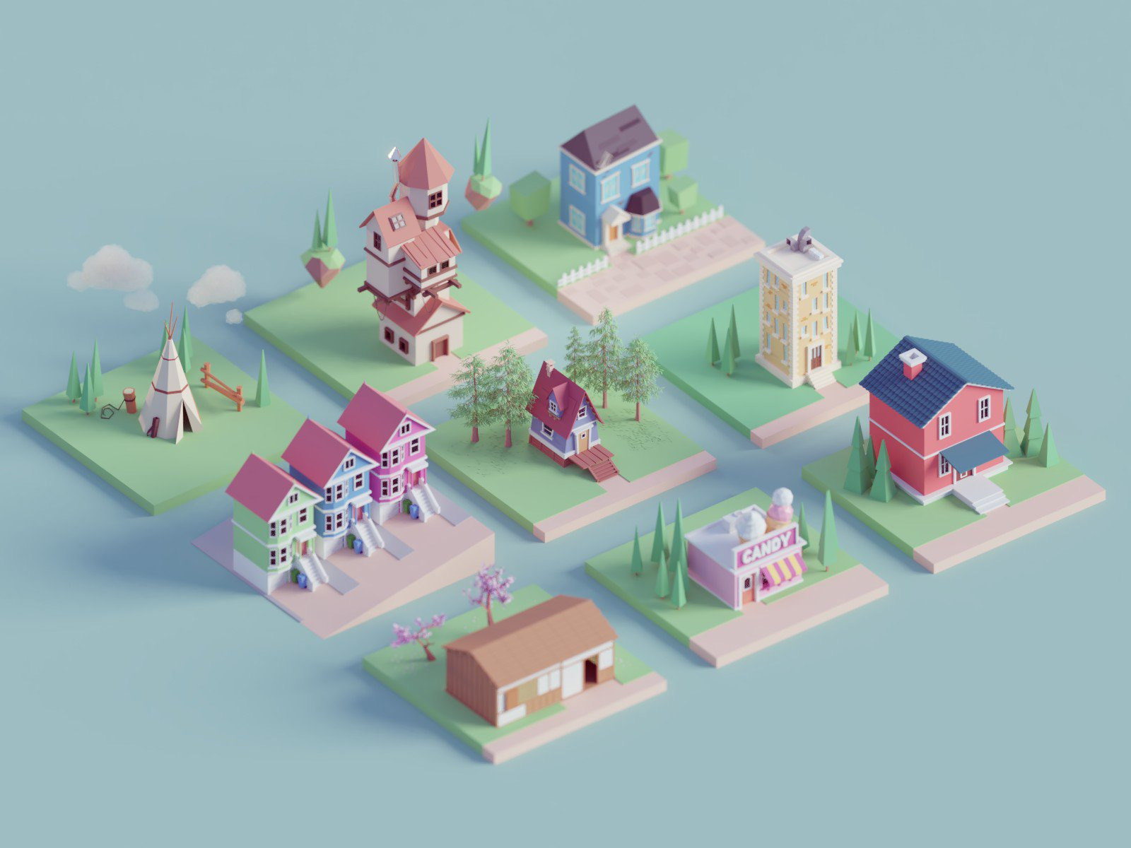 Mohamed Chahin, low-poly art