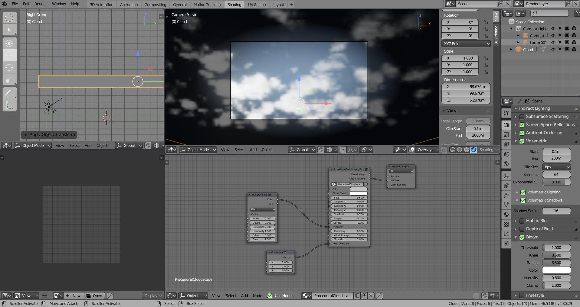 Procedural cloud system for Eevee