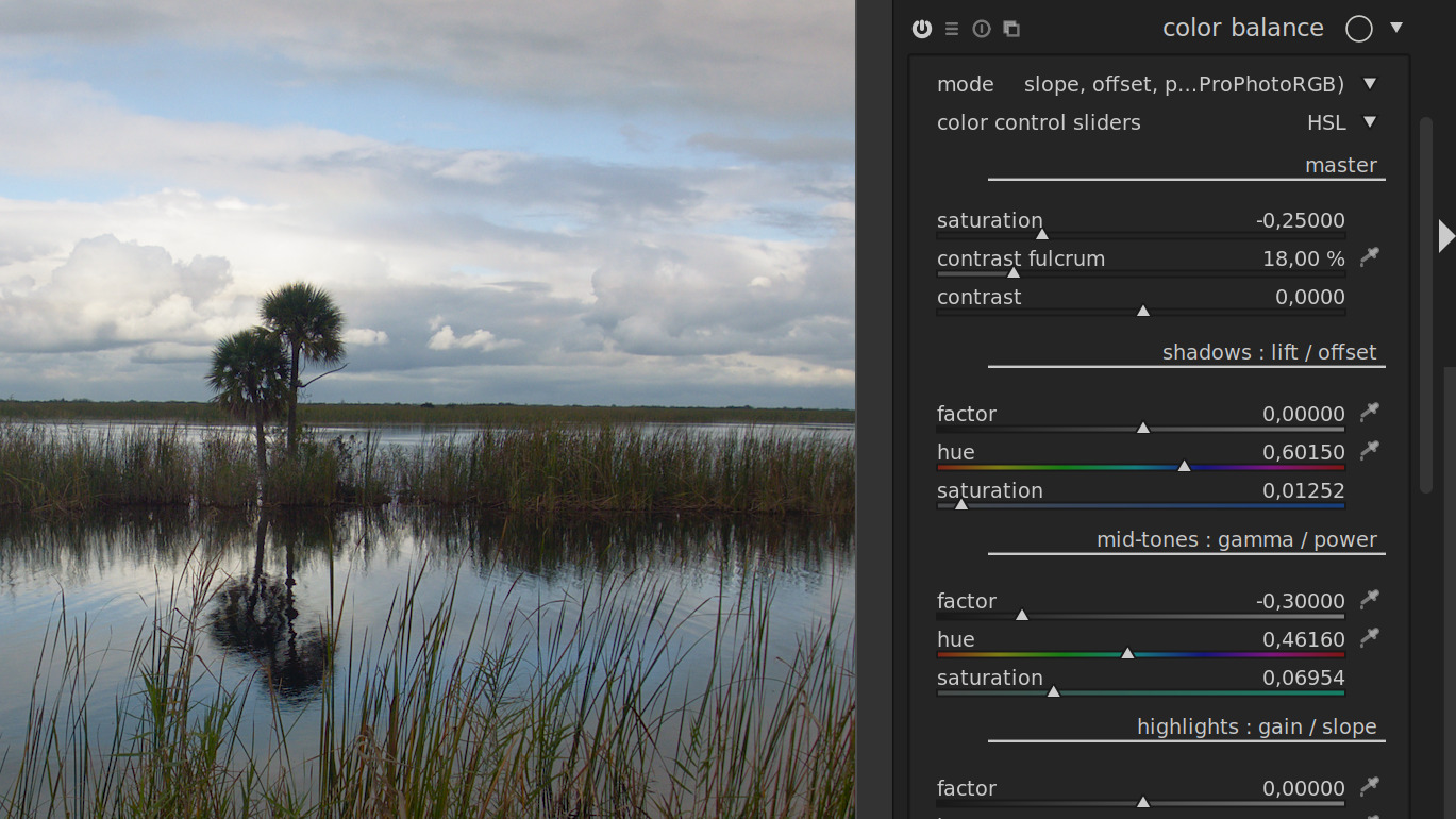 new color balance filter in darktable