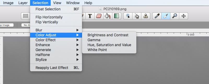 Seashore 2.1.9, color adjustment filters