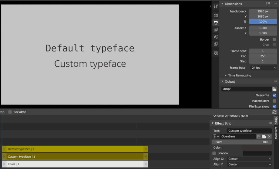 Custom typefaces in VSE text strips