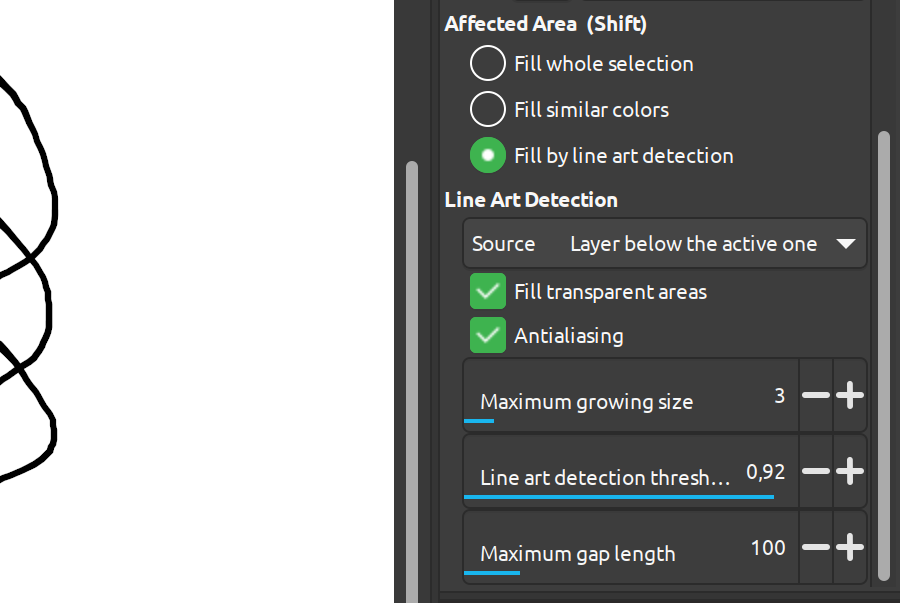 Line Art detection options in GIMP 2.99.1