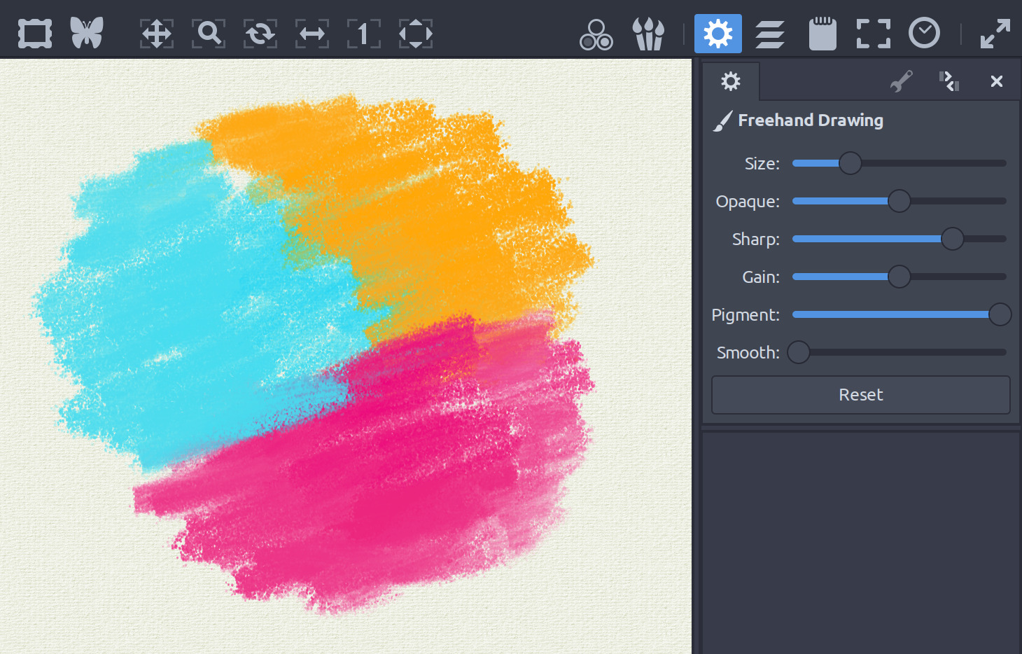 MyPaint 2.0 spectral mixing