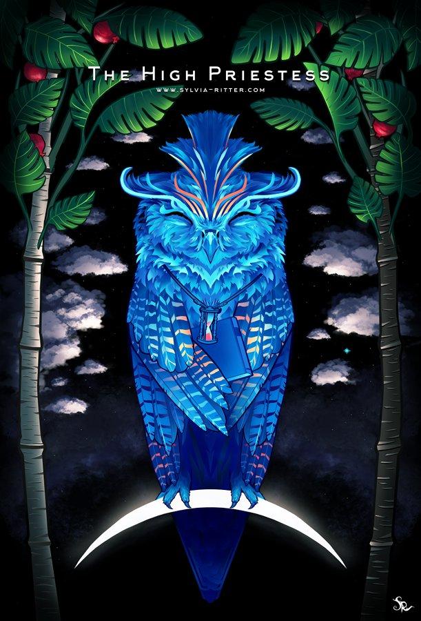 High priestess Tarot card, by Sylvia Ritter