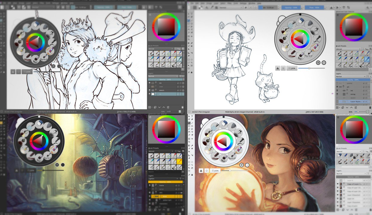 New Krita themes by David Revoy