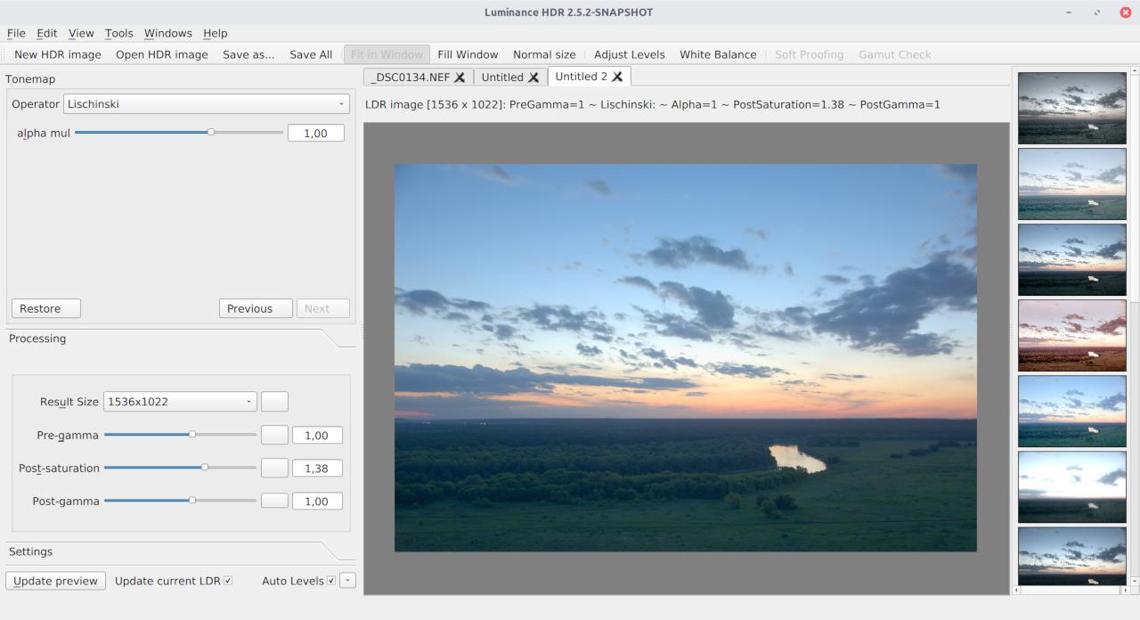 Lischinski tonemapping operator in LuminanceHDR