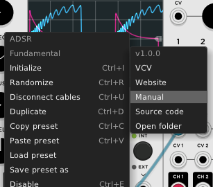 VCV Rack, right-click menu