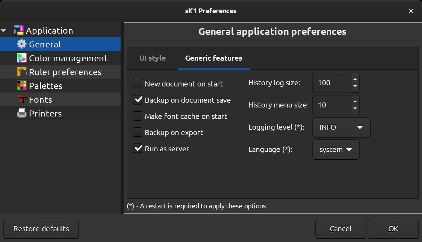 sK1 old preferences