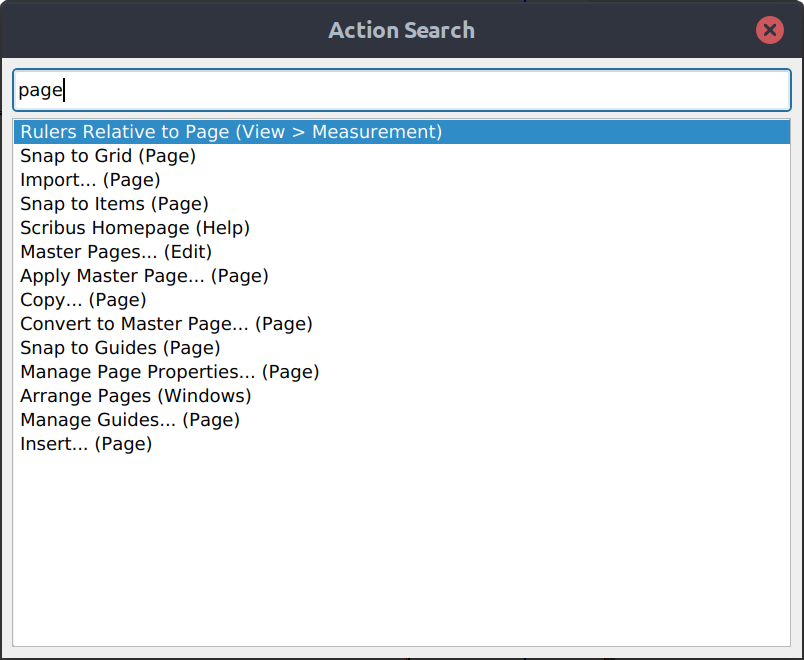 Action search in Scribus 1.5.5