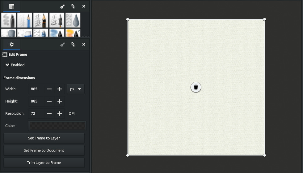 Frame editing in the sidebar of MyPaint