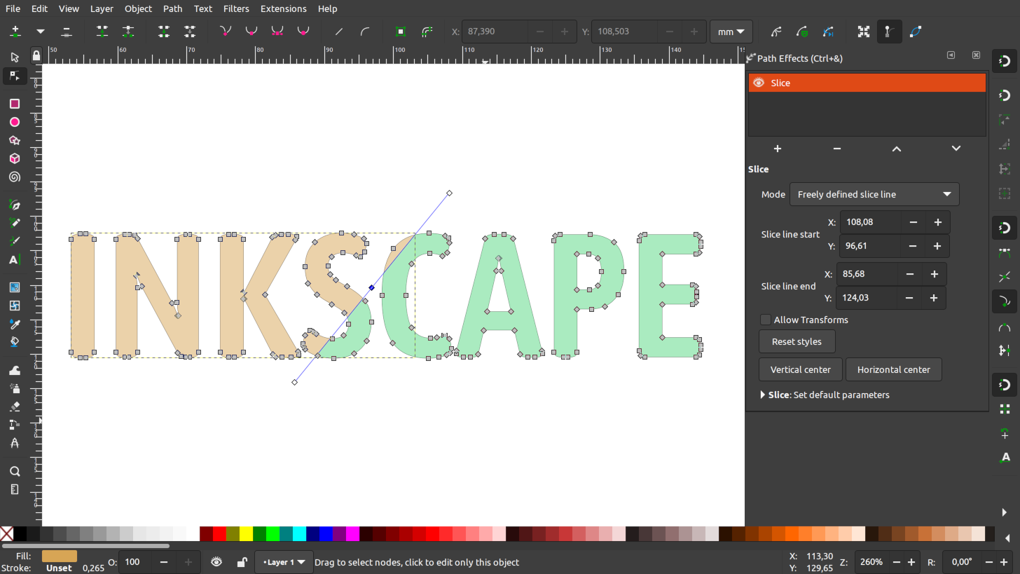 Slice LPE in Inkscape